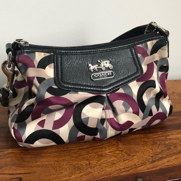 Coach Handbags - Small Coach Satin C Print Should Bag Purse